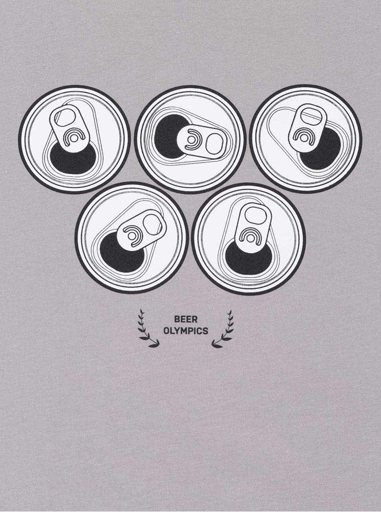 Sivé pánske tričko ZOOT Originál Beer Olympics