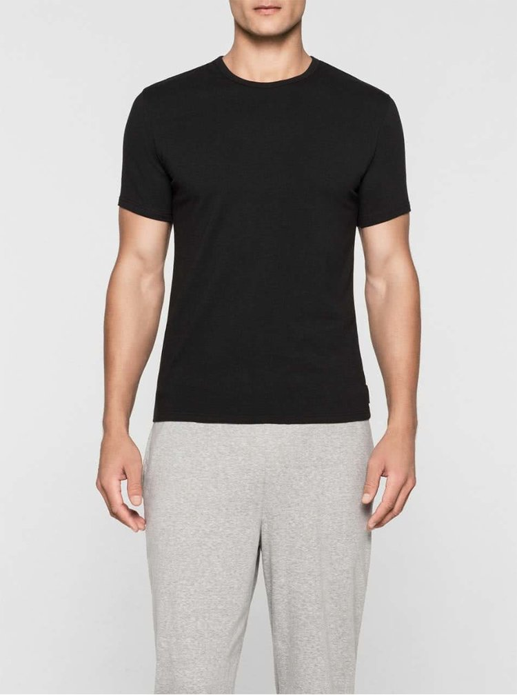 Sada dvou pánských trik v černé barvě s kulatým výstřihem Calvin Klein Jeans