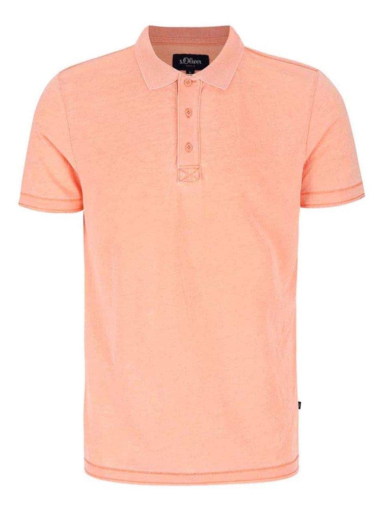 Meruňkové žíhané pánské polo triko s.Oliver