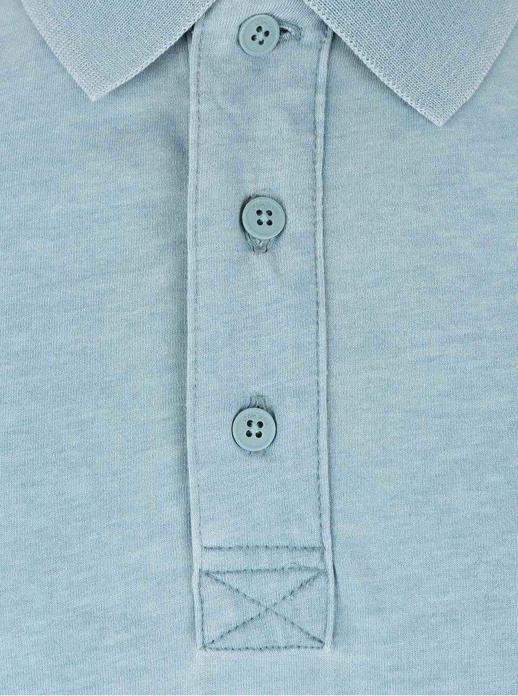 Mentolové žíhané pánské polo triko s.Oliver