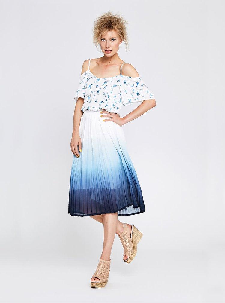 Bílo-modrá skládaná sukně s ombré efektem Alchymi Erica