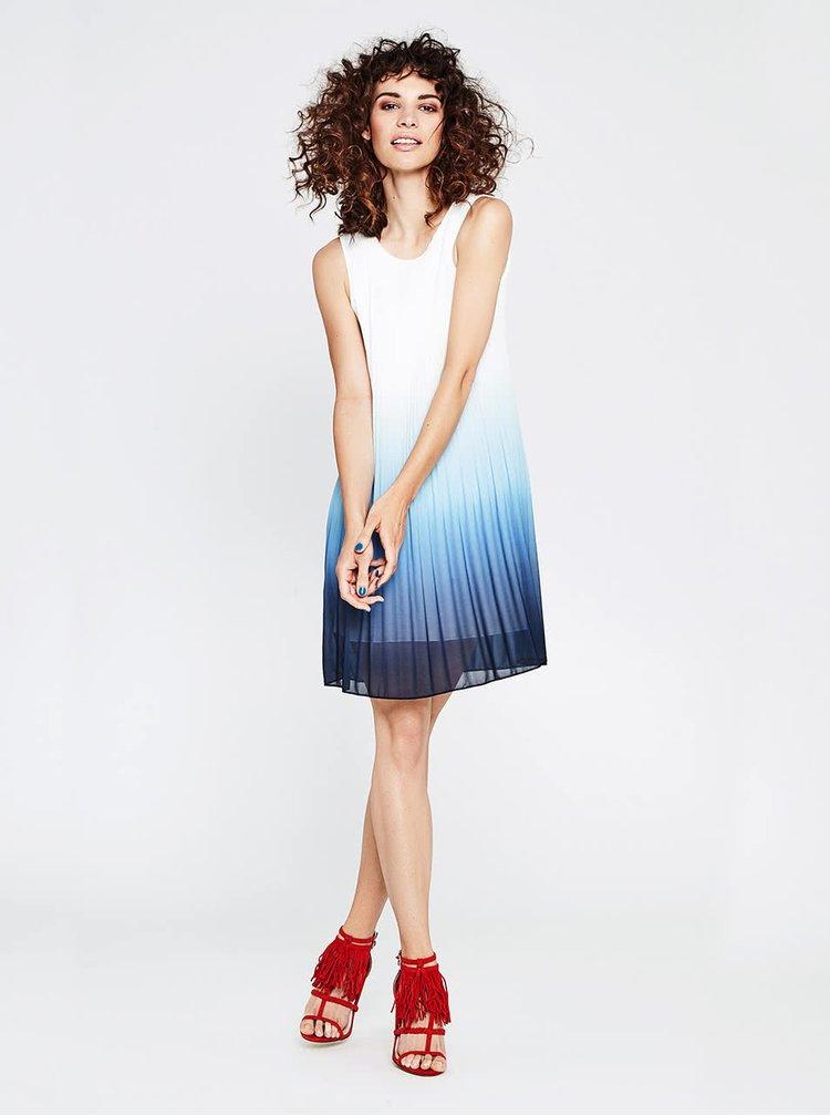 Bílo-modré plisované volnější šaty s ombré efektem Alchymi Rubinola