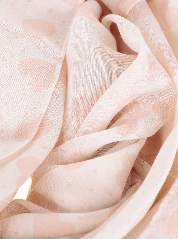 Krémový dutý šátek se srdíčky Pieces Bine