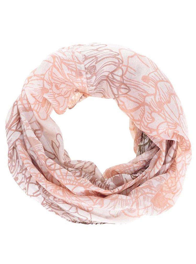 Krémový dutý šátek s růžovým vzorem Pieces Bjorg