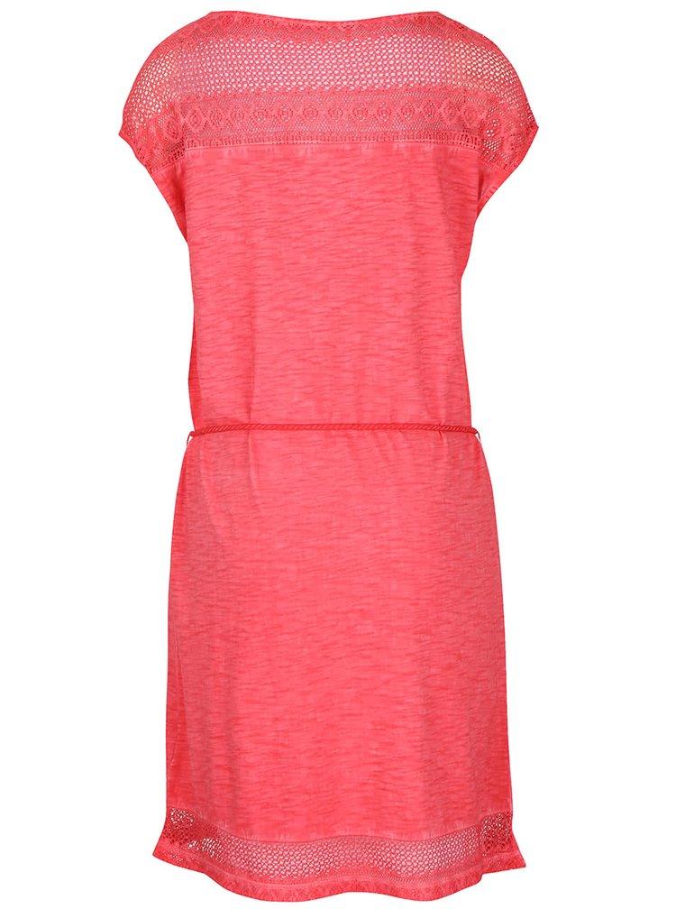 Koralové melírované šaty so stiahnutím v páse s.Oliver