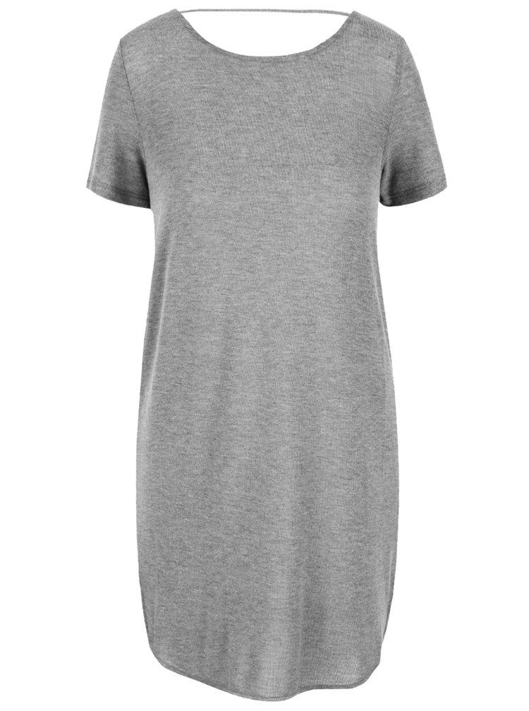 Světle šedé žíhané dlouhé tričko VILA Silla