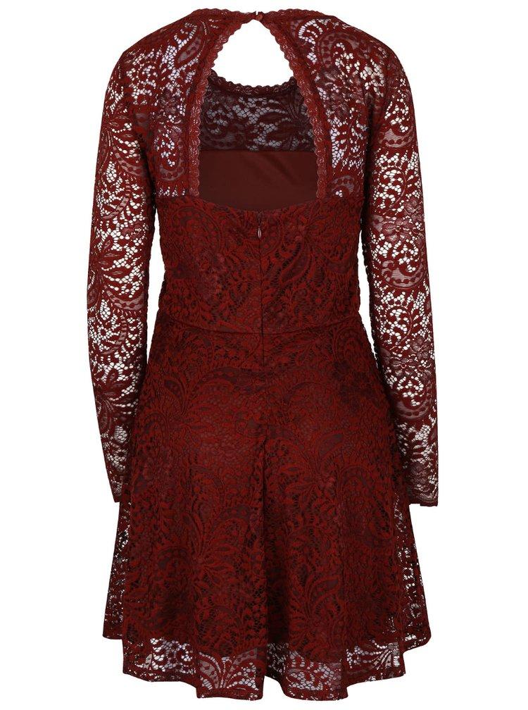 Tehlové čipkované šaty s dlhým rukávom VERO MODA Celeb