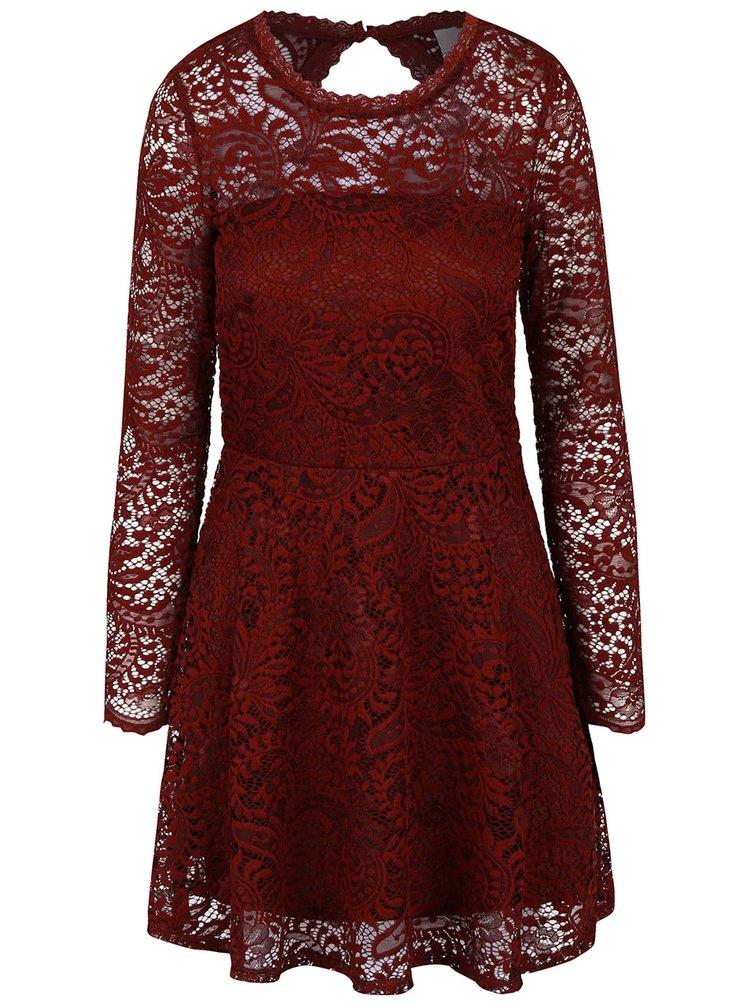 Cihlové krajkové šaty s dlouhým rukávem VERO MODA Celeb