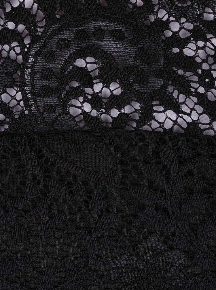 Čierna čipkovaná blúzka s dlhým rukávom VERO MODA Celeb