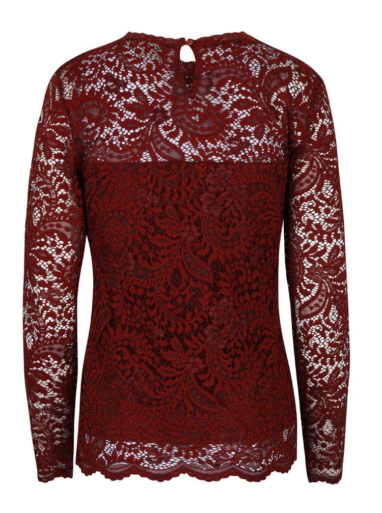 Bluză roșu închis VERO MODA Celeb din dantelă