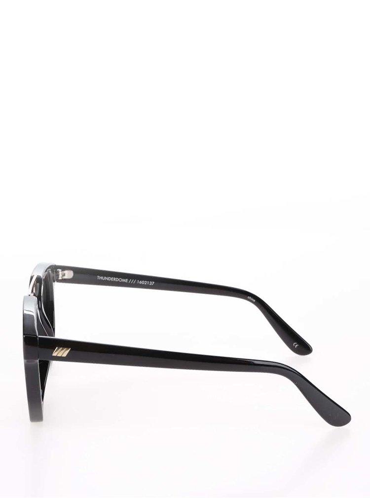 Černé dámské sluneční brýle s detailem ve zlaté barvě Le Specs Thunderdome