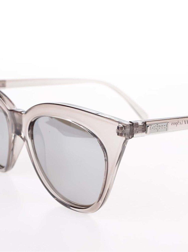 Šedé dámské transparentní sluneční brýle Le Specs Halfmoon Magic