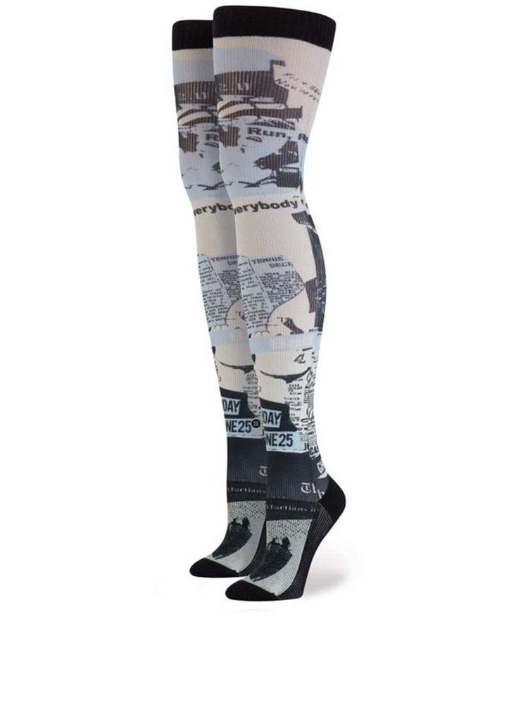 Černo-krémové dámské vzorované nadkolenky Stance Most Wanted Thigh High
