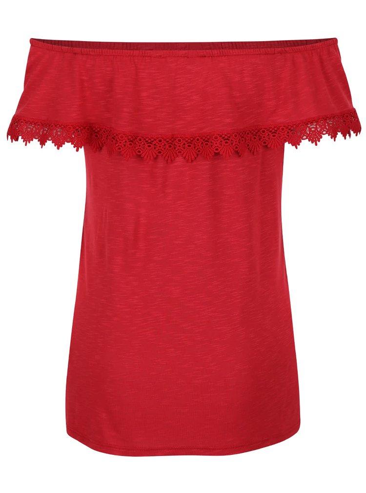 Červené tričko s odhalenými ramenami Dorothy Perkins