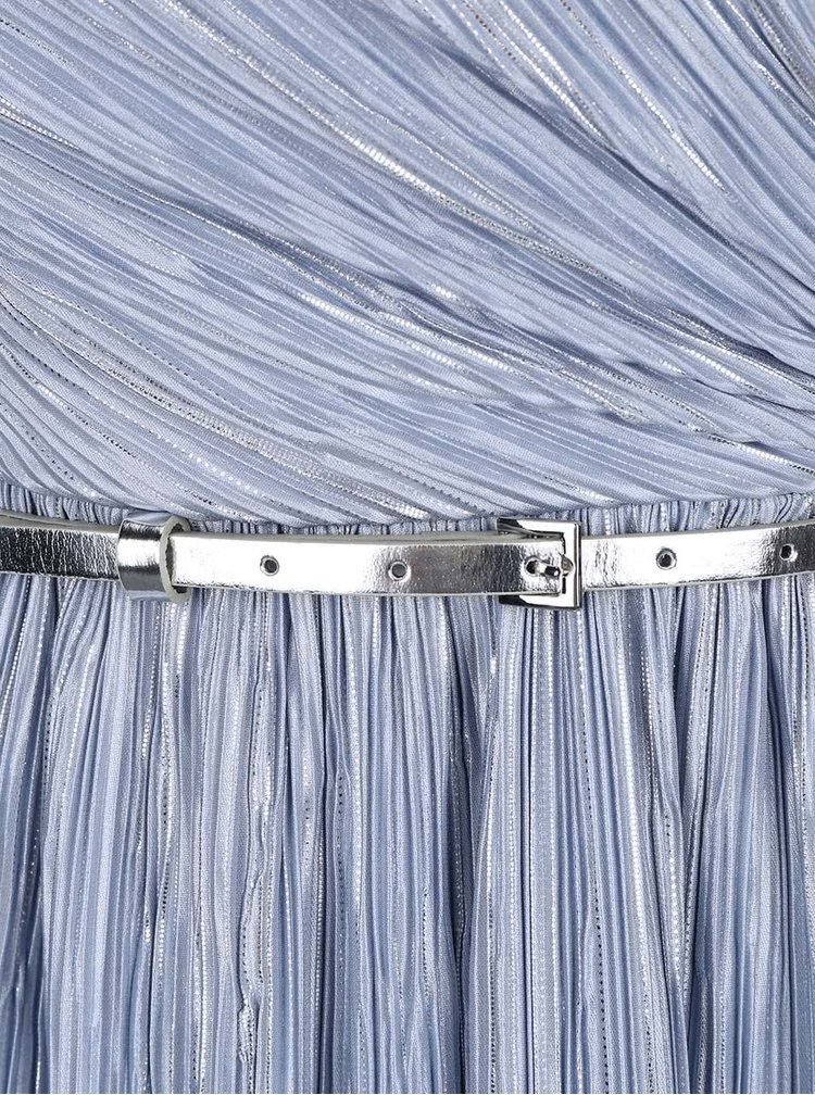 Stříbrno-modré plisované šaty Dorothy Perkins