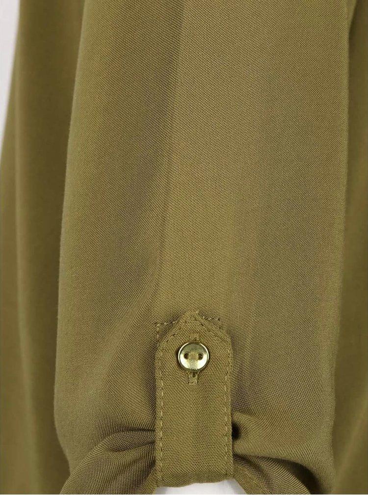Khaki top s 3/4 rukávem VERO MODA Boca