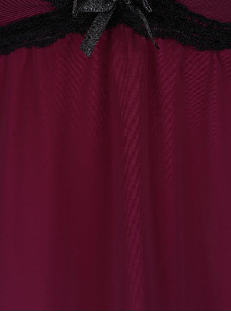 Vínová noční košilka s černou krajkou ICÔNE Leslie