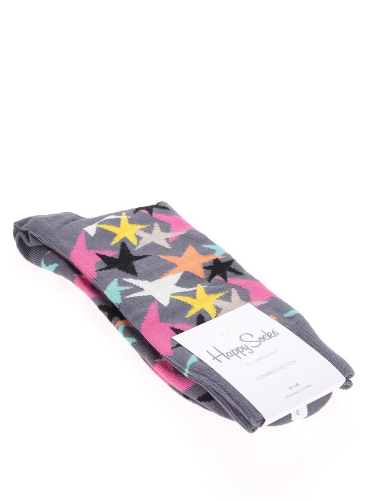 Šedé pánské ponožky Happy Socks Stars