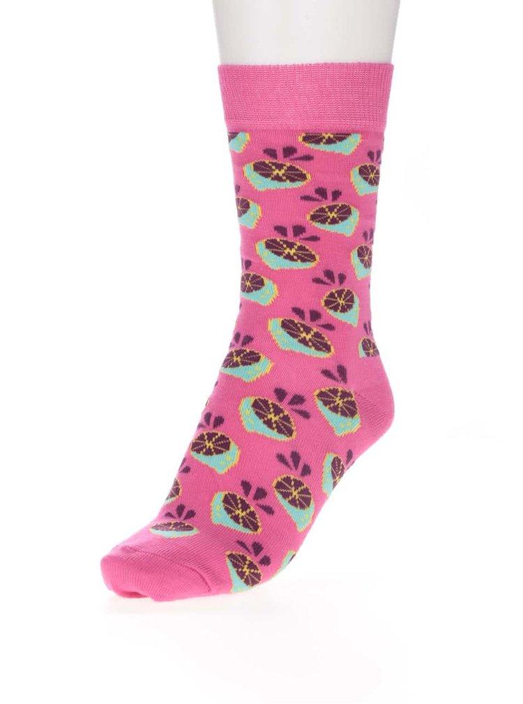Șosete roz cu imprimeu pentru femei Happy Socks Lime