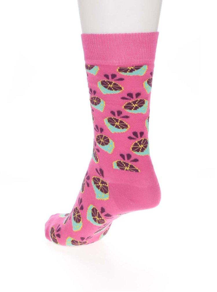 Ružové dámske ponožky Happy Socks Lime