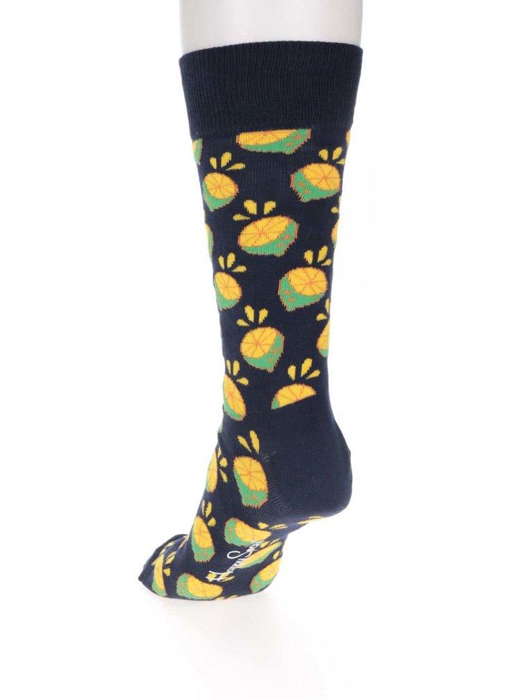 Șosete bleumarin pentru bărbați Happy Socks Lime cu imprimeu