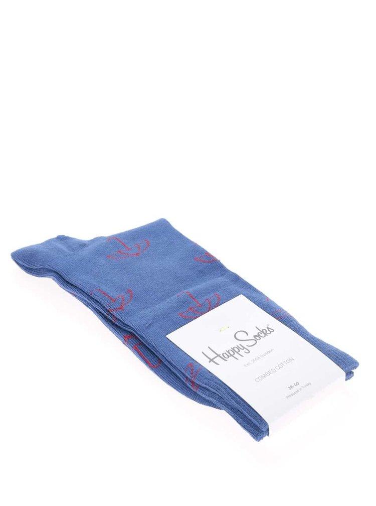 Modré dámske ponožky Happy Socks Umbrella