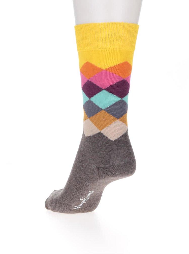 Žluto-hnědé unisex ponožky Happy Socks Faded