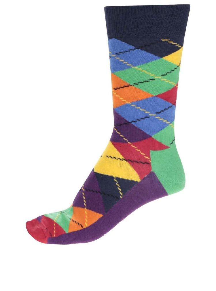 Fialové pánske kárované ponožky Happy Socks Argyle