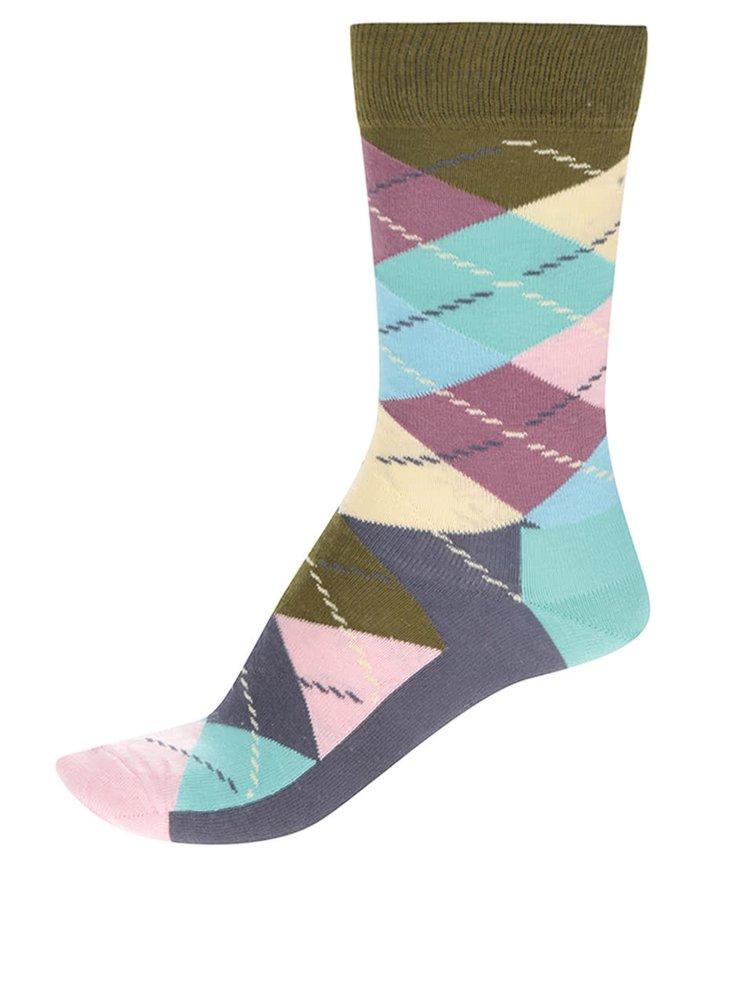 Tmavě modré unisex kostkované ponožky Happy Socks Argyle