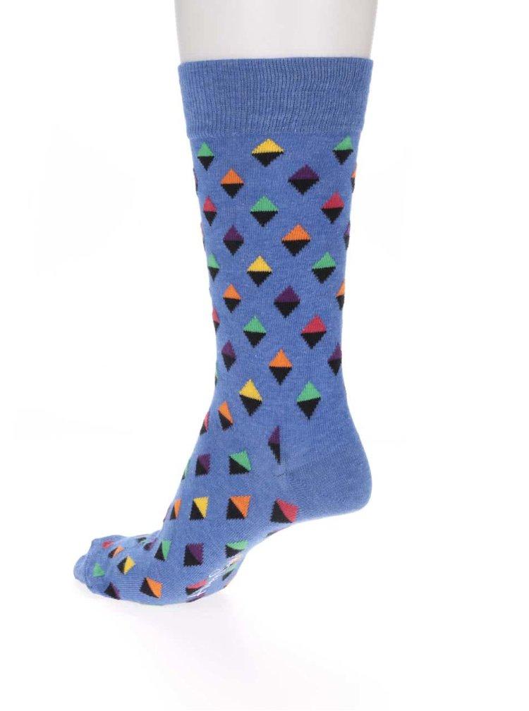 Șosete albastre cu imprimeu pentru bărbați Happy Socks Mini Diamond