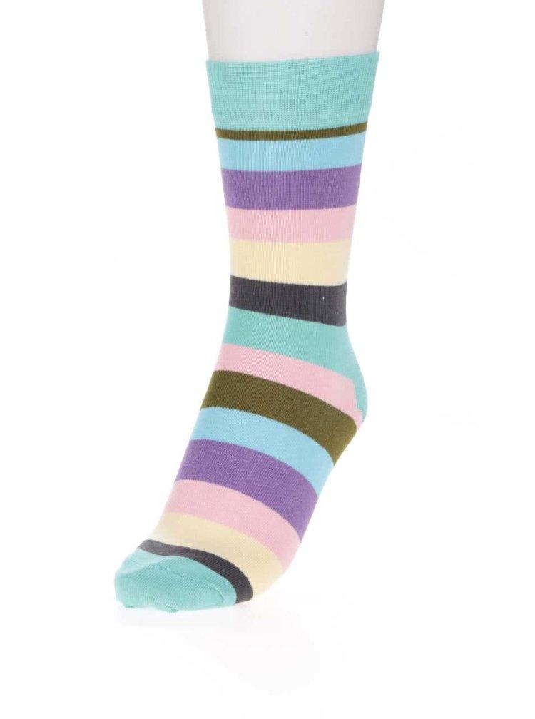Tyrkysové dámske pruhované ponožky Happy Socks Stripe