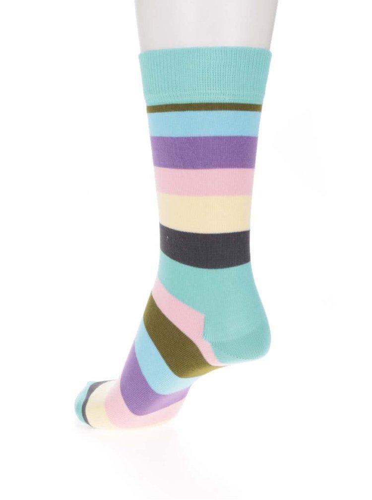 Tyrkysové dámské pruhované ponožky Happy Socks Stripe