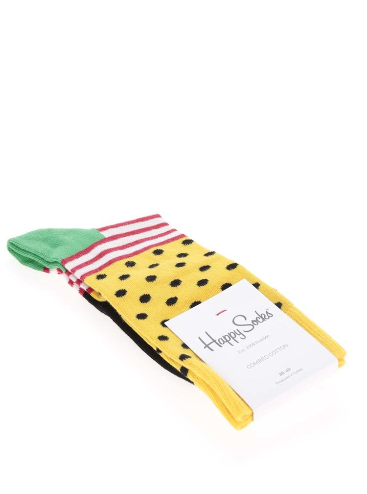 Čierno-žlté dámske ponožky Happy Socks Stripe Dot