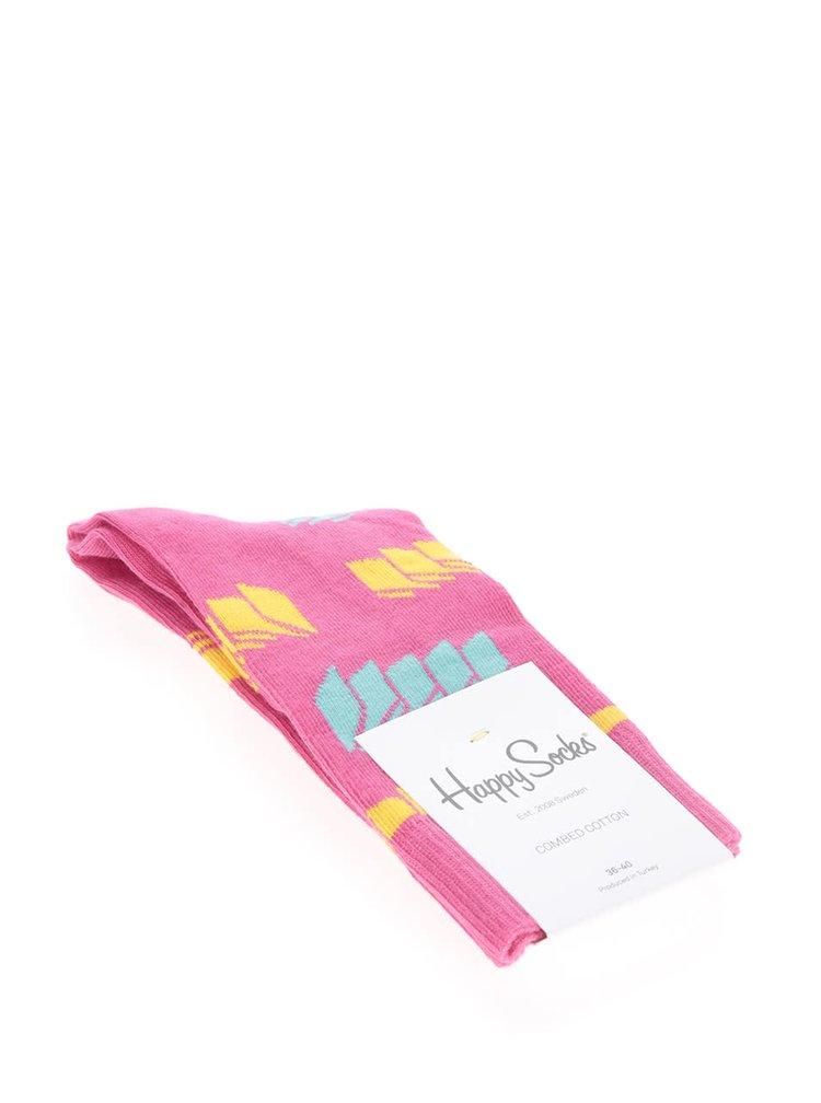 Růžové dámské ponožky Happy Socks Blinds