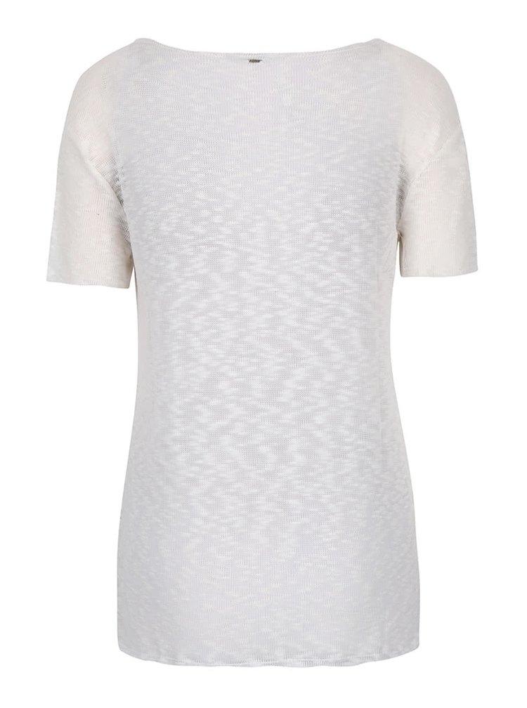 Krémové průsvitné tričko s véčkovým výstřihem ONLY Sadie