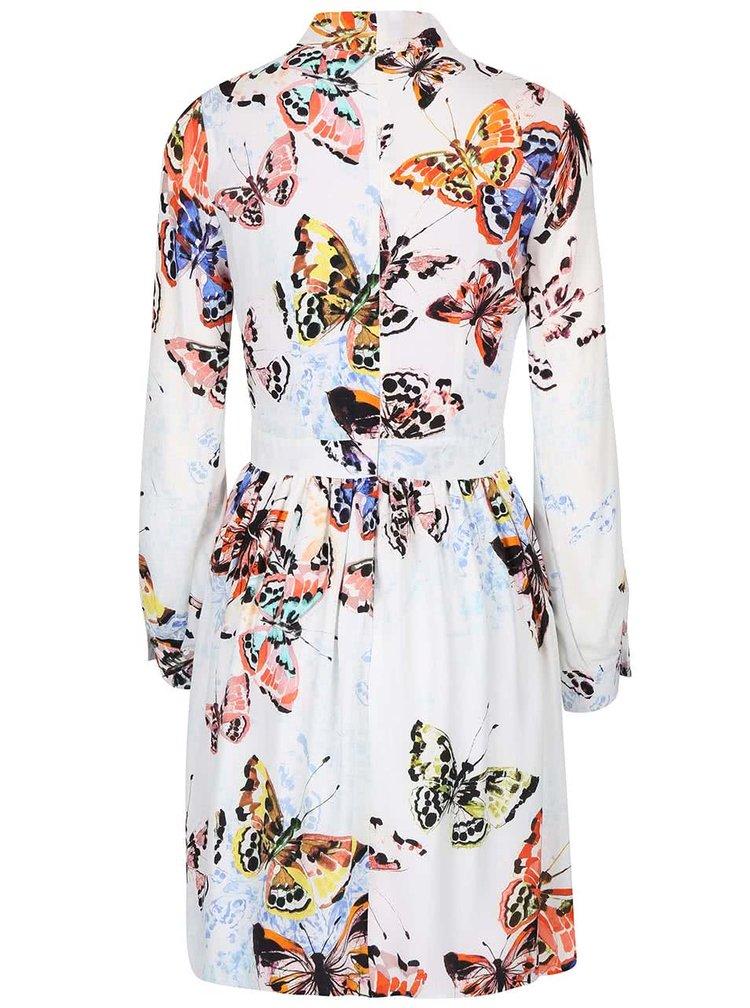 Krémové šaty s barevnými motýly Closet