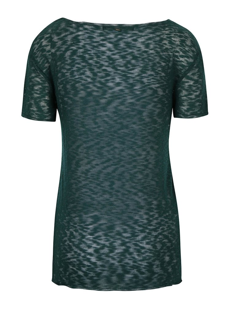 Zelené průsvitné tričko s véčkovým výstřihem ONLY Sadie