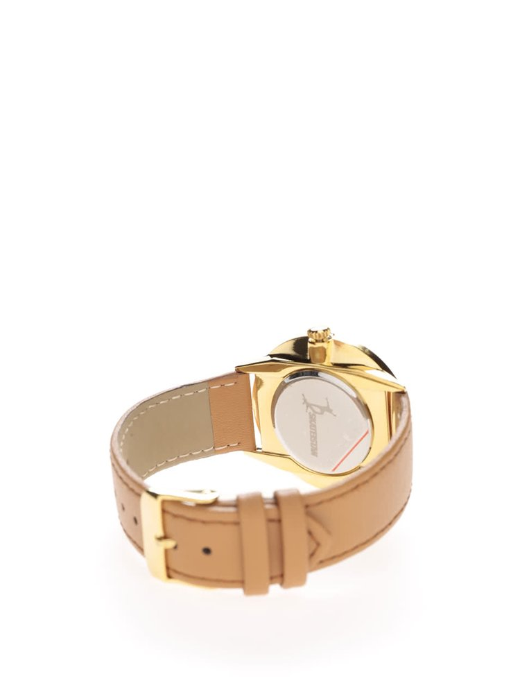 Dámské hodinky ve zlaté barvě s hnědým páskem z veganské kůže Cheapo Nawroz