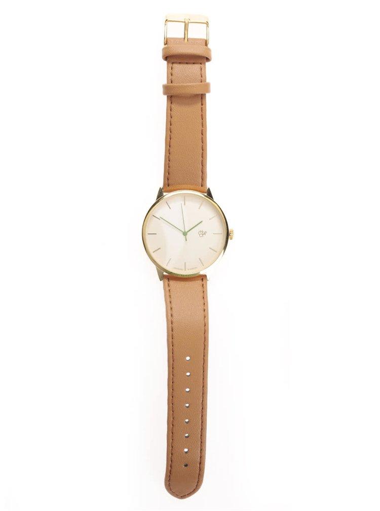 Unisex hodinky ve zlaté barvě s hnědým páskem z veganské kůže Cheapo Nawroz