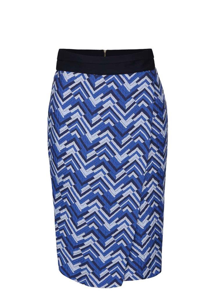 Sivo-modrá prekladaná sukňa so vzorom Closet