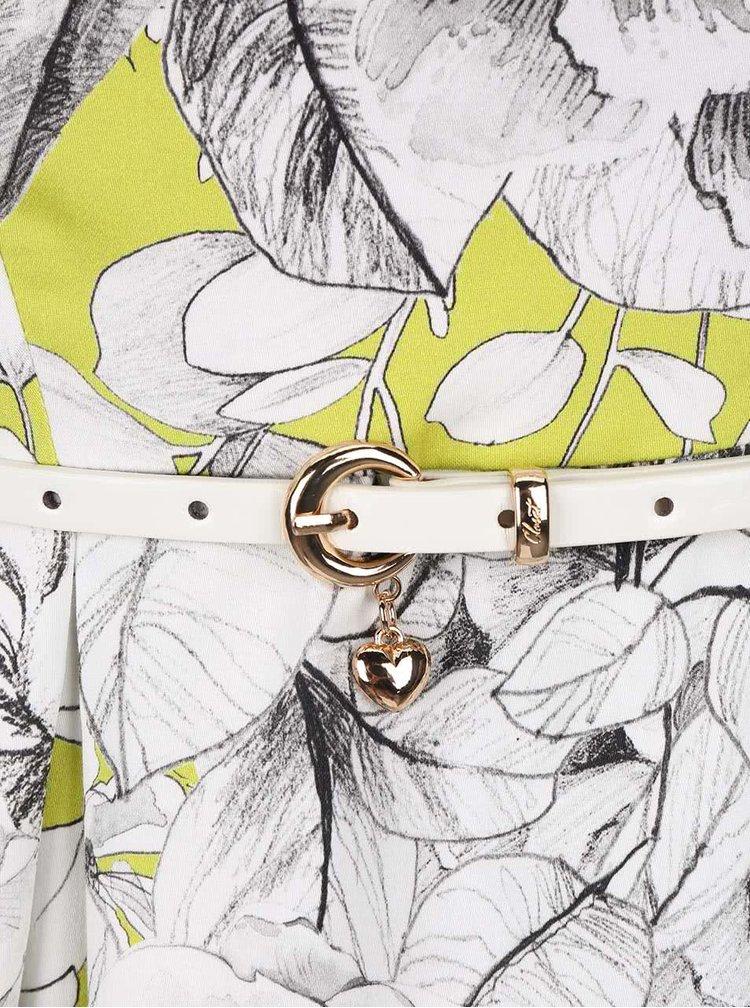Krémovo-zelené šaty s kvetmi a opaskom Closet