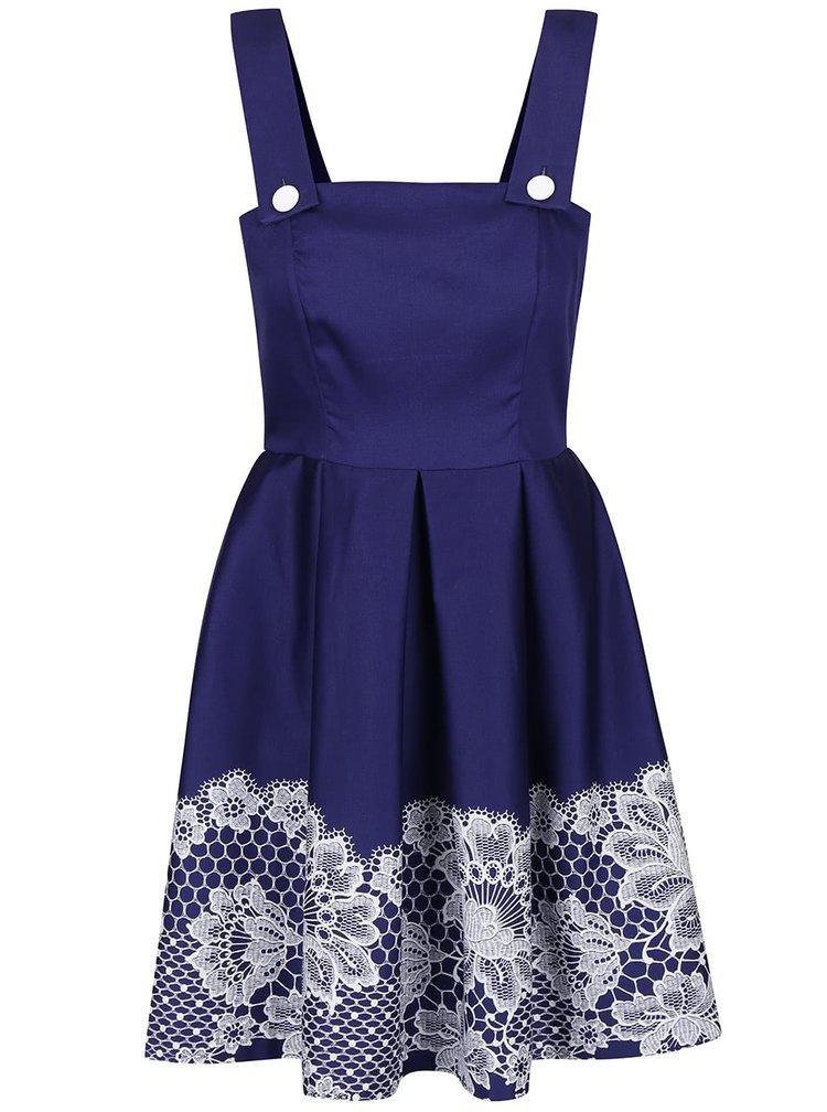 Modré šaty s potiskem krajky Closet