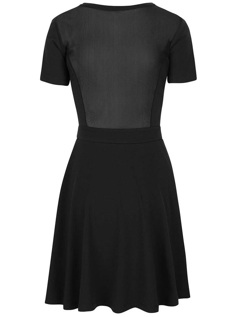 Čierne šaty so sieťovaným chrbtom ONLY Niella
