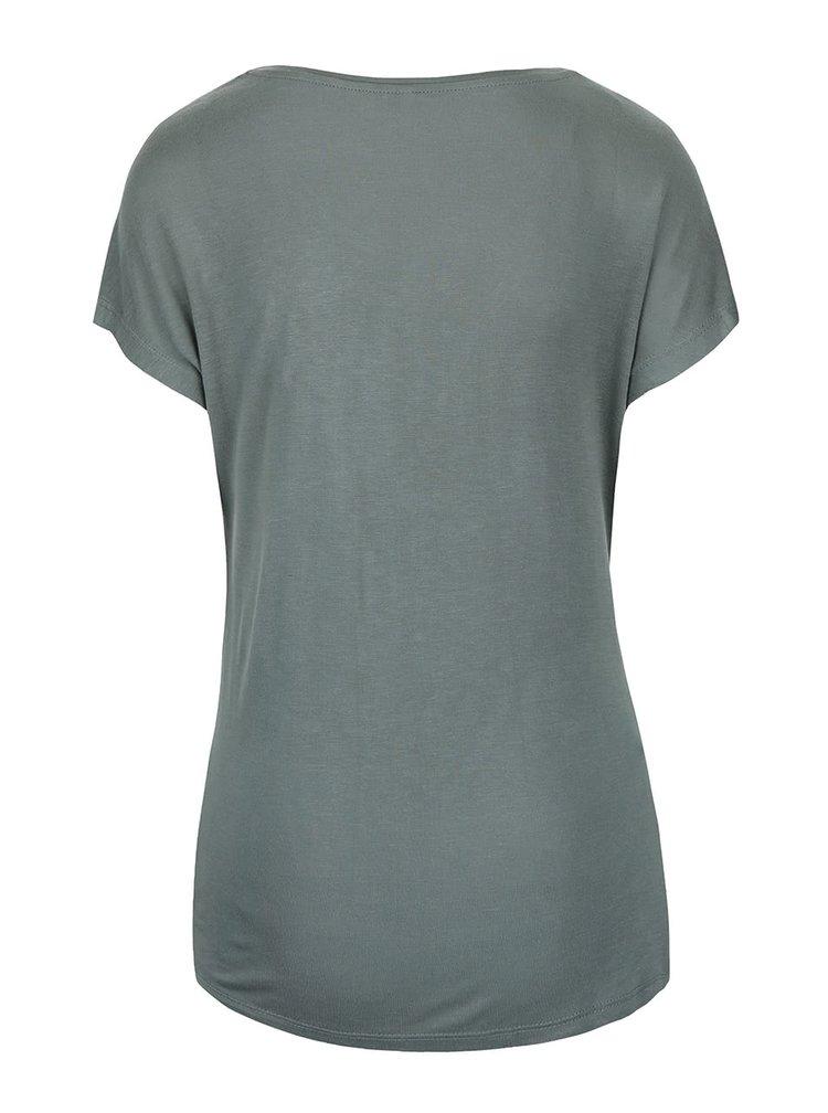 Tricou verde închis ONLY Favourite cu imprimeu