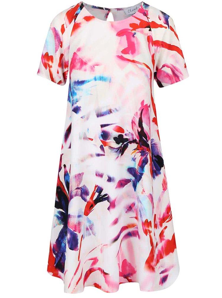 Krémové kvetované voľnejšie šaty Closet