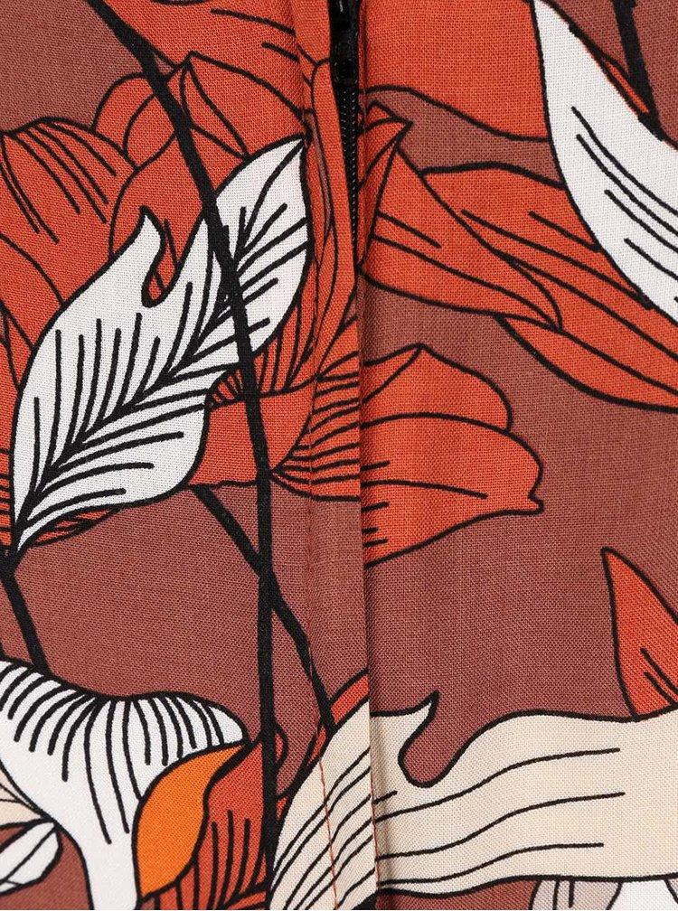 Oranžovo-cihlové šaty s květinovým potiskem Dorothy Perkins