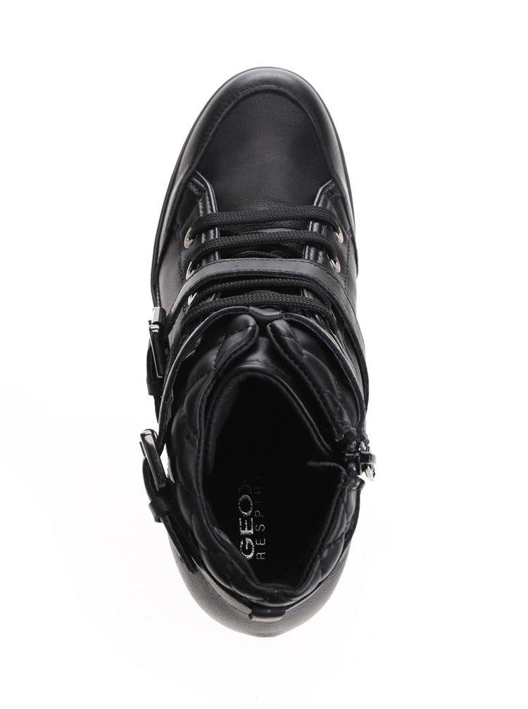 Čierne kožené tenisky na platforme Geox Eleni