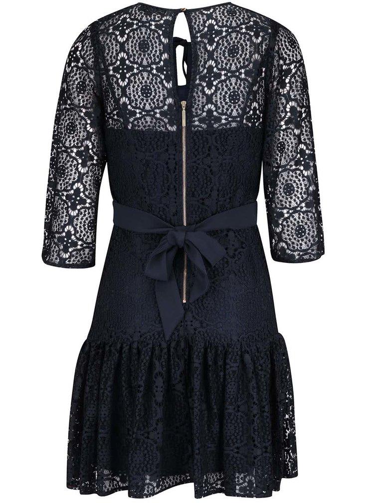 Tmavomodré čipkované šaty s 3/4 rukávmi Closet