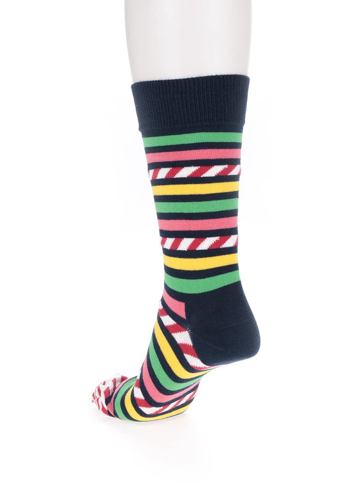 Tmavo modré pánske pruhované ponožky Happy Socks Stripe&Stripe