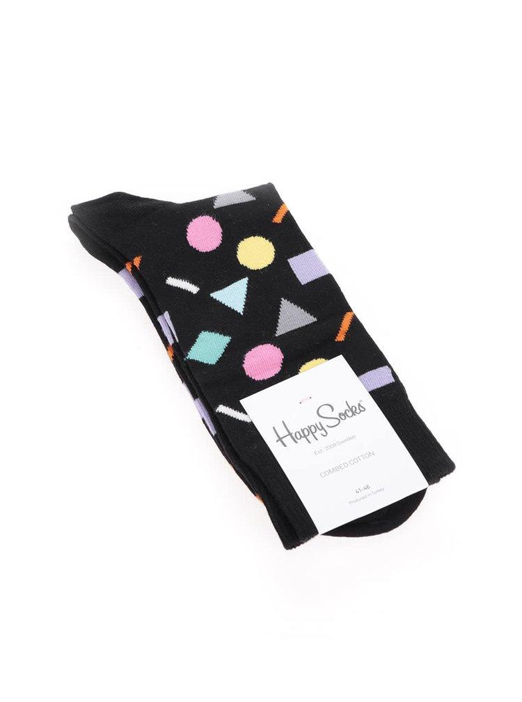 Sosete negre cu imprimeu Happy Socks Play pentru barbati